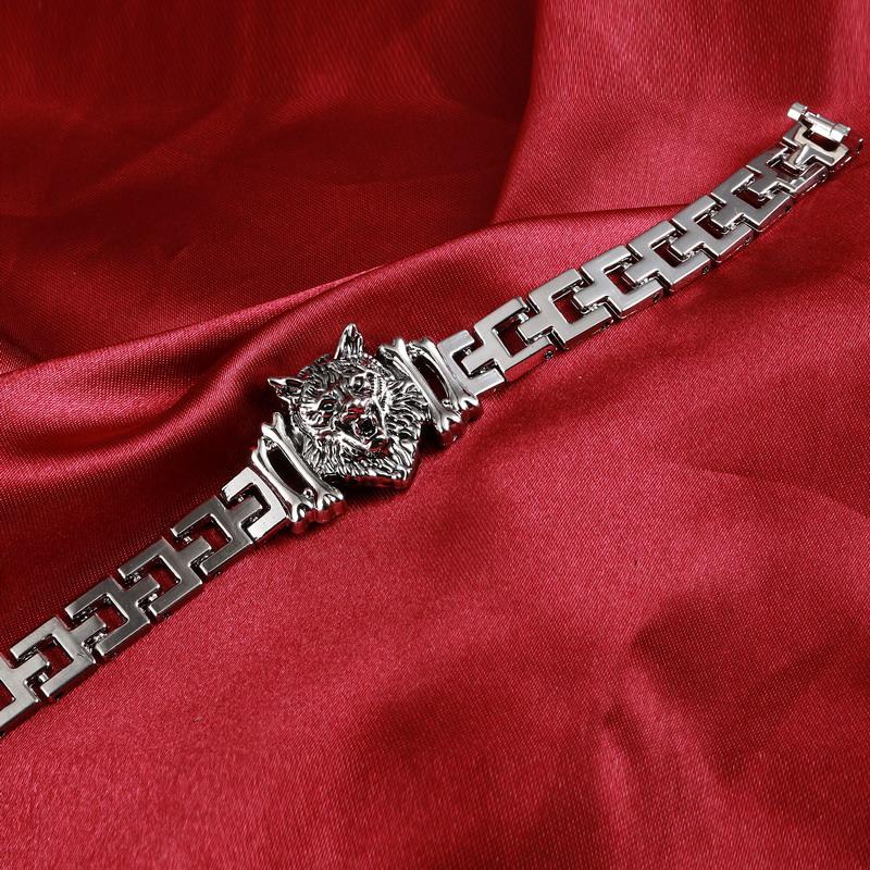 Wolf Charm Bracelet: Fashion Punk Wolf Head Stainless Steel Charm Bracelet For
